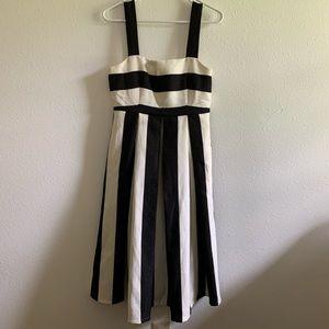 Boston proper black stripe dress cream white midi